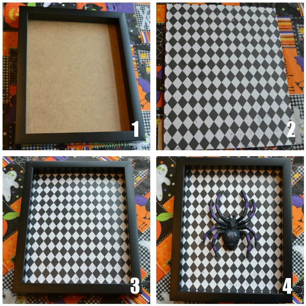 dollar store halloween spider frame craft