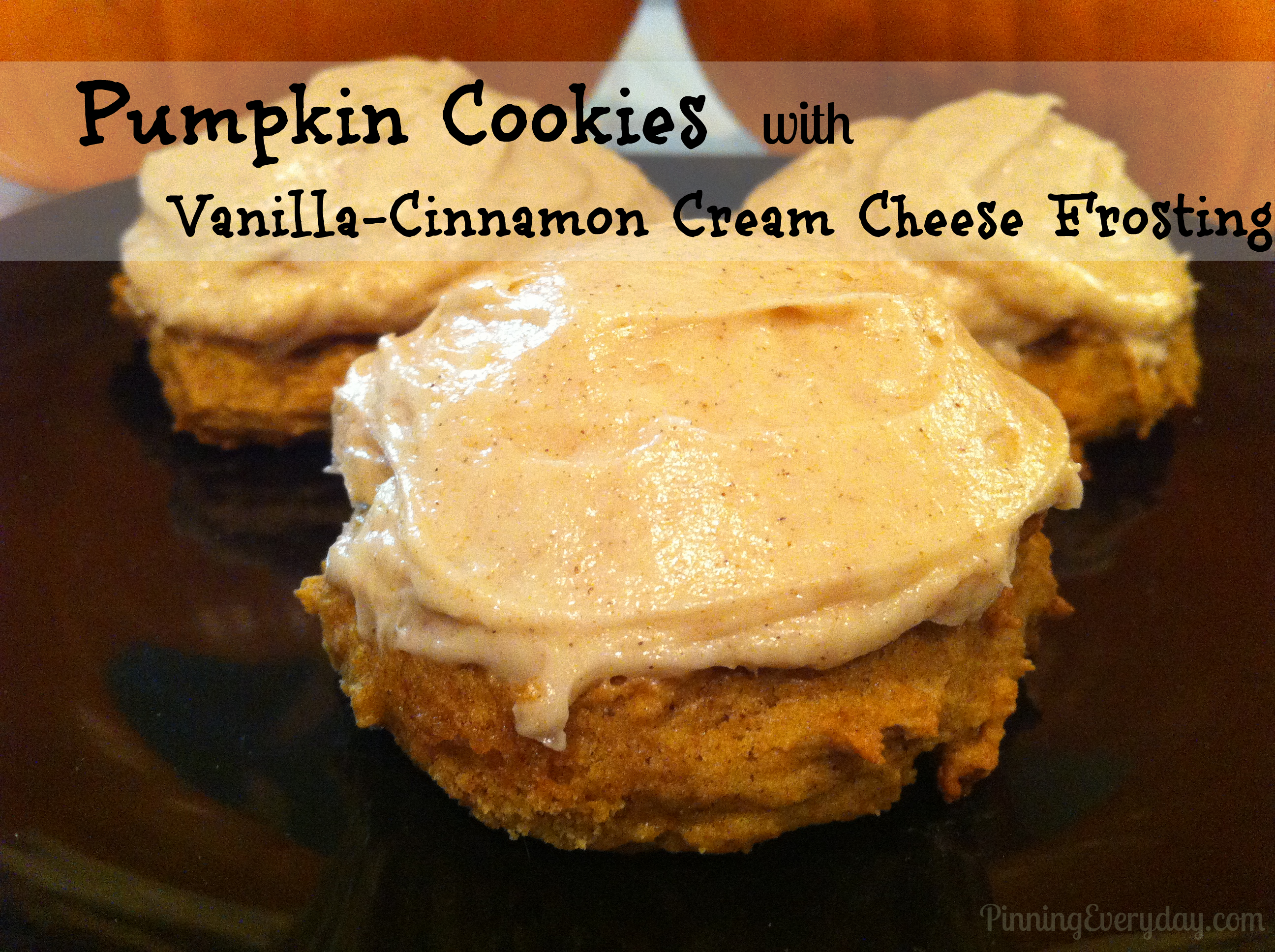 Pumpkin Cookies with Vanilla-Cinnamon Cream Cheese Frosting - Pinning ...