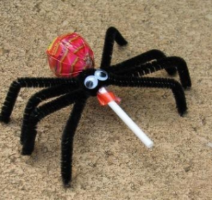 lollipop halloween spider craft